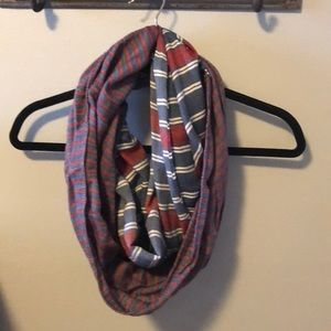 Loft red white and blue striped infinity scarf